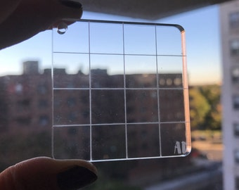 "2""x2"" GRID Square Charm - Clear acrylic block for clear  photopolymer planner stamps, clear block, stamp block"