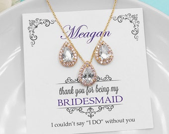 Bridesmaid Jewelry Gold, Bridesmaid Jewelry Set, personalized jewelry, bridal party jewelry necklace set, gold jewelry set 498902560