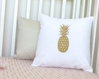 Pineapple Pillow/ Gold Throw Pillow/ Flamingo Bedding/ Pineapple Bedding/ Tropical Bedding/ Gold Stripe Pillow/ Accent Pillow