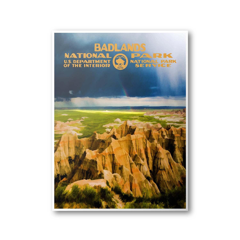 Travel To National Parks Poster: Badlands National Park Travel Poster
