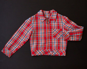 Red, white, blue and orange checkered, madras 60's/70's summer jacket age 6