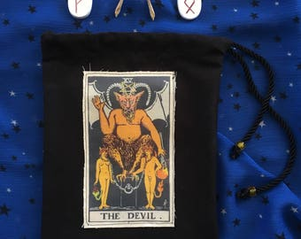 Drawstring Devil Tarot Bag for runes, crystals, cards, scrying or divination