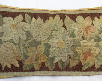 Antique 18th century Hand Woven Tapestry Cushion - Pillow - Flower Border