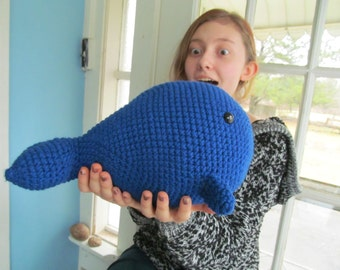 Great Blue Whale Chubby Crochet Stuffed Animal Hand Made USA Soft Body Cuddly