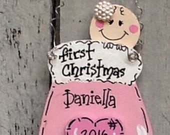 First christmas ornament, baby's first christmas sign, baby mitten ornament, baby's first christmas gift, first christmas ornament