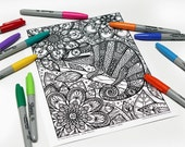 Mandala coloring, drawing #9000 printed on cardboard, coloring of relaxation, Chameleon