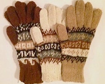 100% Alpaca Rustic Handknit Gloves with Incan Pattern for adults. Pefect for winter.