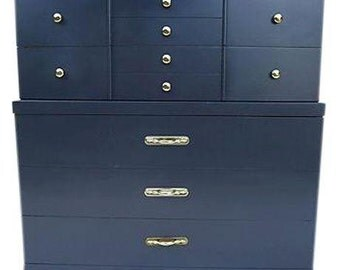 "Read For Free Shipping! Midcentury Highboy Dresser  Newly Painted in Dark Gray  40""W X19""D X 43""H"