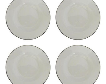 "Set of 4 White Fine China Soup  Bowls  with silver rim Marked"" The Palm Restaurant  "" Replacement China, Parties,Holidays"