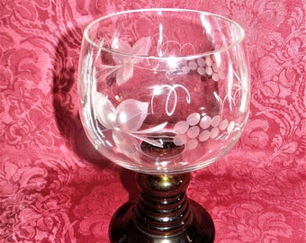 Vintage Wedding Goblet Chalice Wheel Cut Glass HUGE