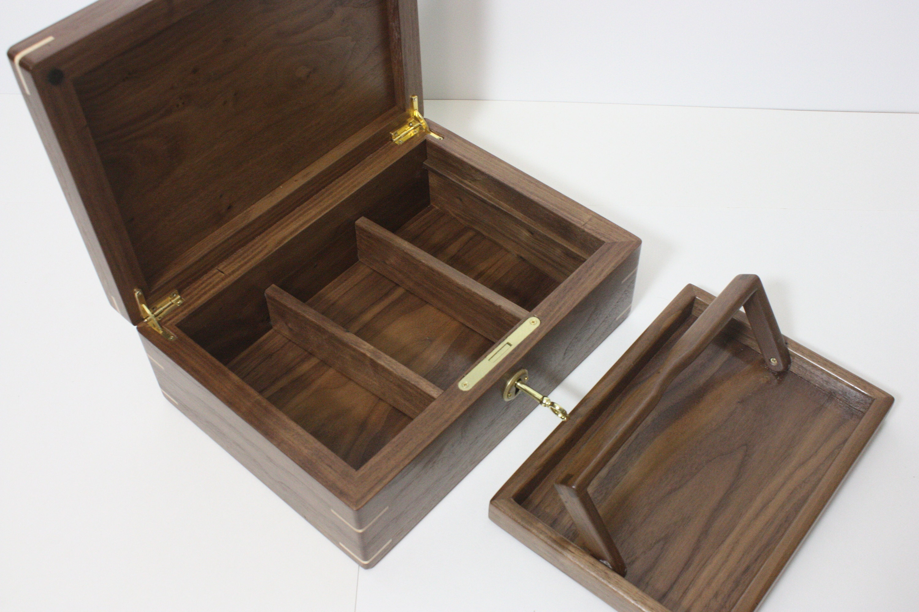 Walnut Box with Dividers and a Lift Out Tray