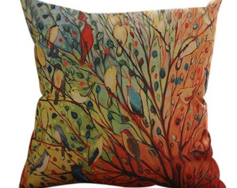 Colorful Songbirds Birds in a Tree - Pillow Cover