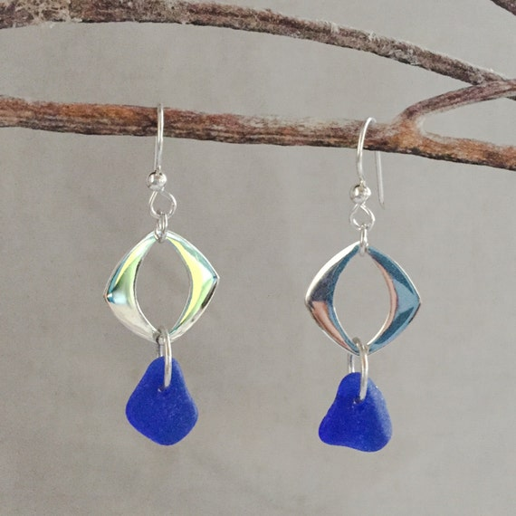 genuine santa cruz sea glass cobalt blue earrings with sterling square and sterling ear wires