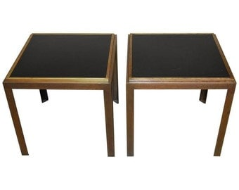 Pair of Iron Brass and Formica Side Tables