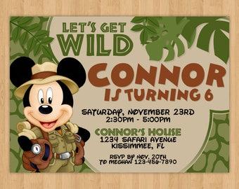 Safari Mickey Mouse Inspired Birthday Invitation