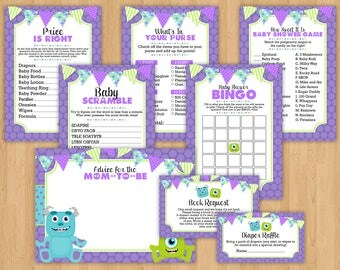 INSTANT DOWNLOAD: Monsters Inc Inspired Printable Game Set | Baby Shower