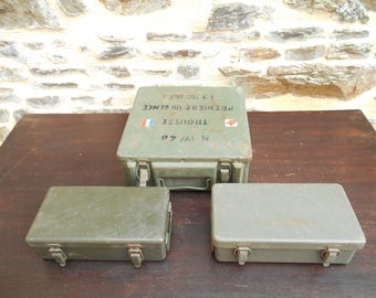 Set of 3 Vintage Military Field Medicial Boxes