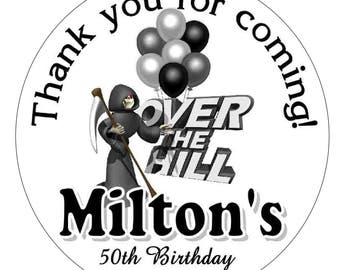 40 OVER THE HILL Birthday Party Favors labels stickers for your party favors