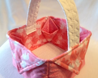 Pink and Rose Elephants Quilted Fabric Gift Basket, Quilted Basket, Tote,  Nursery Decor, Storage Basket, Gift Bag, Nursery Storage, Basket