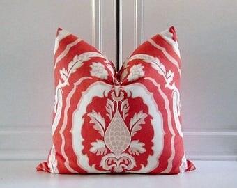 "Duralee Decorative Pillow Cover-Tobi Fairley'""Kathryn""-Coral- 18x18,20x20,22x22"