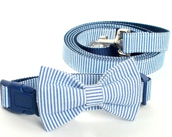 Navy Seersucker Collar and Leash Set, Wedding Set, pet bow tie, collar bow tie, wedding bow tie