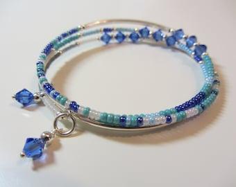 Blue Ocean Memory Wire Bracelet