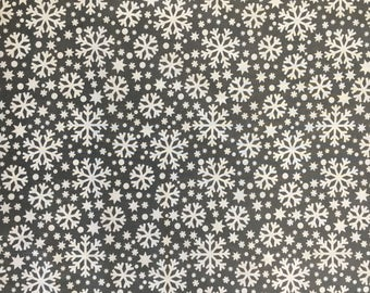 Christmas Polycotton Fabric - White Snowflake on Grey Background - Fabric Craft Xmas Material Metre 112cm wide x 100cm