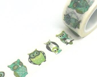 Green Owls Washi Tape 20mm x 5m
