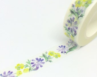 Purple and Yellow Watercolour Effect Washi Tape 15mm x 10m