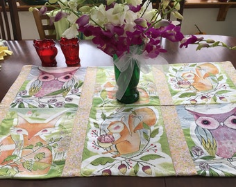 Folk Art Table runner, ready for spring! 38 by 22 inches, All cotton.