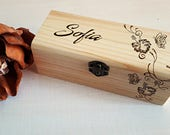 Wood gift box, custom engraving, birthday gift box, keepsake, wedding gift box, jewelry box, pyrograph engraving