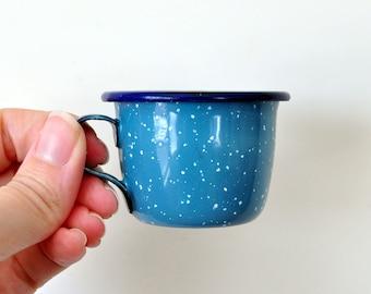 Vintage Toy Enamelware Cups, Miniature Camp Mugs, Blue Speckled Porcelain Enamel, Play Dishes, Enameled Cups