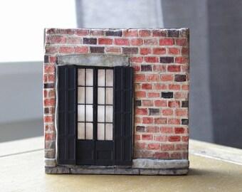 Miniature Facade, New Orleans Building, Clay Sculpture, Architecture Art, Brick Building, French Doors, Travel Decor, Miniature Building