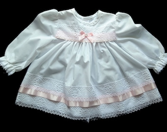 Vintage White Baby Girl Dress with Pink Ribbon White Lace. 3 - 6 months. Christening Dress. Holiday Dress.