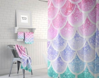 Pastel  Mermaid Scales  Shower Curtain Optional Bath, Bath Towels   Mat Bathroom Set