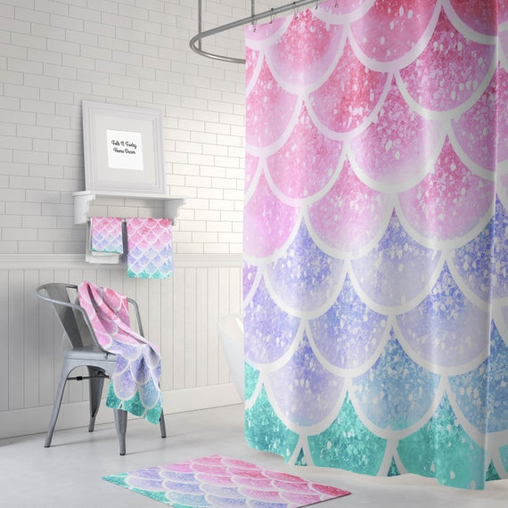 Pastel mermaid scales shower curtain optional bath bath for Mermaid bathroom decor vintage
