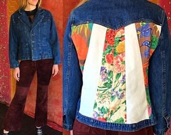 Vintage 80s Sequin Jacket Boho Disco Beaded Jean Jacket