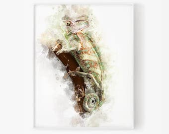 chameleon watercolor, chameleon art, nursery art, home decor, chameleon decor, kids room decor, chameleon nursery, watercolor art