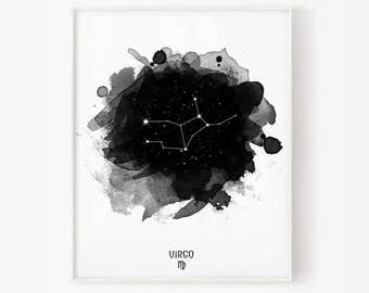 Virgo Constellation, Virgo zodiac, Zodiac Constellation, Stars constellation, Astronomy Watercolor, Printable poster, Digital print
