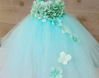 tiffany blue flower girl dress. hydrangea flower girl dress. flowergirl dresses. aqua tutu dress. aqua flower girl dress. Wedding dresses.