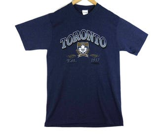 Vintage Toronto Maple Leafs T-Shirt - Large - 1992 - Leafs Hockey - Navy Blue - NHL - Ontario Hockey - Vintage Tee - Vintage Clothing -