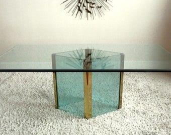 Mid Century Modern Brass / Glass Dining Table by Leon Rosen for Pace Collection