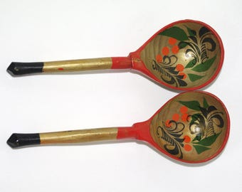 Set of 2 Russian Wooden Spoons Golden Khokhloma painting Handmade Spoon Rest Soviet Russian national ornament vintage Russian Folk Art