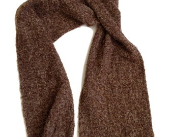 "Brown, Beige Wool Blend Fringed Scarf - 74"" x 11.5"""