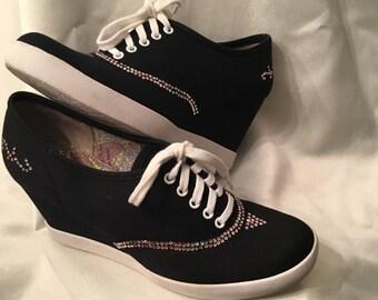 Black BC Sneakers Embellished with Swarovski Crystals