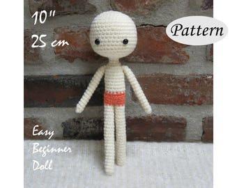 "PATTERN - 10""/25cm - Basic Amigurumi Crochet Doll - Customizable Body Base - Photo Tutorial - PDF"