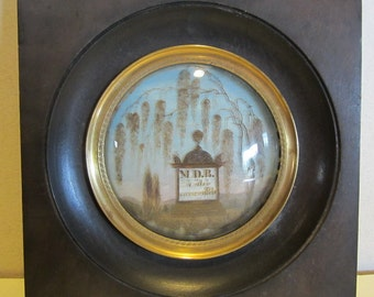 Antique 1840!! Victorian memento mori, framed miniature with hair work from deceased, mourning frame, palette hair work memento  mori 18