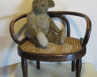 Children's or doll's chair AUSTRIA antique chair for children, bentwood and cane