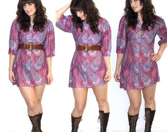 Vintage 70s Paisley pink purple mod retro mini dress size s/m