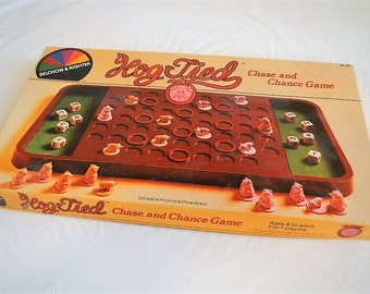 Vintage Hog Tied Chase and Chance Board Game - Selchow & Righter, No 40 - 1981 - family game, 2 players, strategy game, pigs, hogs, dice